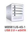MB561US-4S-1 Quad Bay eSATA & USB 2.0 External Enclosure