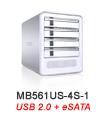MB561US-4S-1 Quad Bay eSATA & USB 2.0 External Enclosure